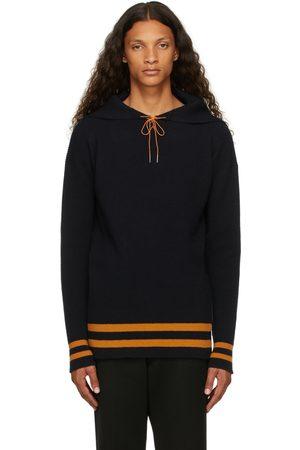 Maison Margiela Men Hoodies - Navy Wool Sailor Hoodie