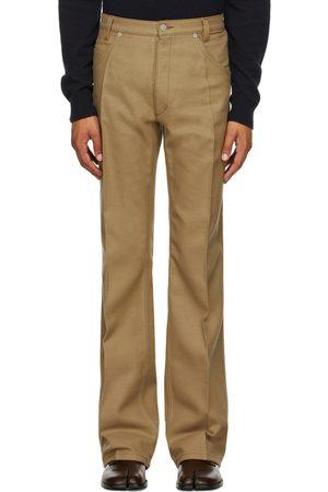 Maison Margiela Men Pants - Beige Wool Five-Pocket Trousers
