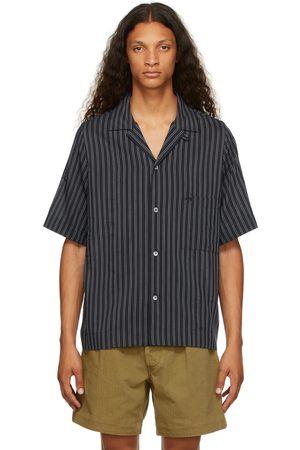 Maison Margiela Men Short sleeves - Navy & White Striped Short Sleeve Shirt