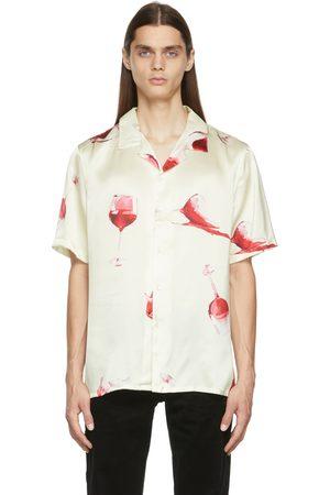 Nahmias Men Short sleeves - Off-White Silk Fine Wine Short Sleeve Shirt