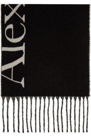 Alexander McQueen Women Scarves - Black & White Cosy Logo Scarf