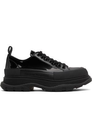 Alexander McQueen Men Sneakers - Black Patent Tread Slick Low Sneakers