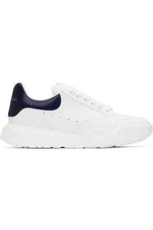 Alexander McQueen Men Sports Shoes - White & Navy New Court Sneakers