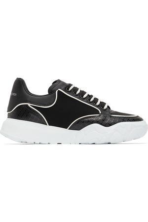 Alexander McQueen Men Sneakers - Black & White Neoprene Court Trainer Sneakers