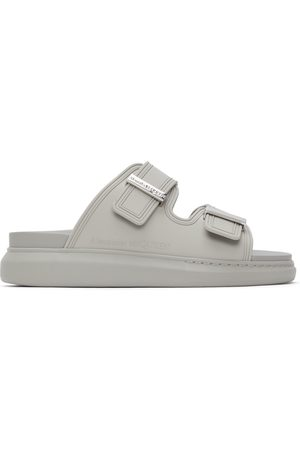 Alexander McQueen Men Sandals - Grey Rubber Hybrid Slides
