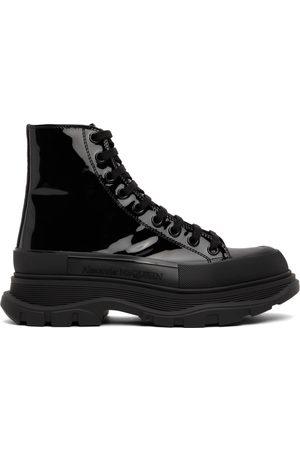 Alexander McQueen Men Sneakers - Black Patent Tread Slick High Sneakers
