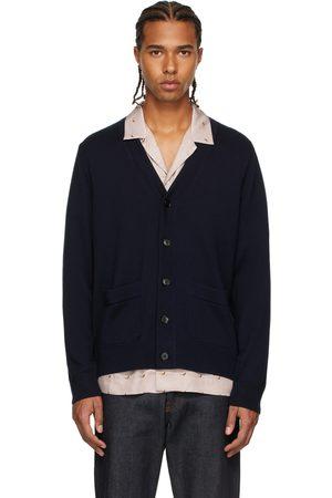 DRIES VAN NOTEN Men Cardigans - Navy Merino Wool Cardigan
