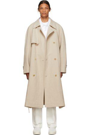 The Row Men Trench Coats - Beige Linen Omar Trench Coat