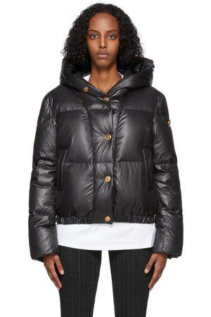 VERSACE Women Puffer Jackets - Black Down GV Signature Puffer Jacket