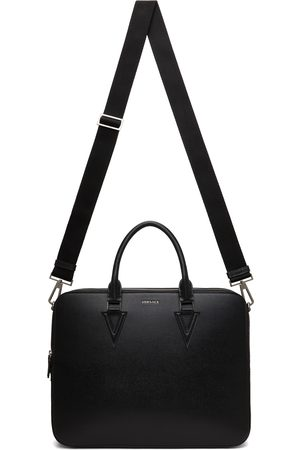 VERSACE Men Laptop Bags - Black V Leather Briefcase
