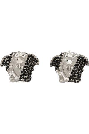 VERSACE Men Earrings - Silver & Black Crystal Medusa Earrings