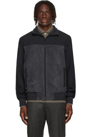 Loro Piana Men Leather Jackets - Navy Laidon Leather Jacket