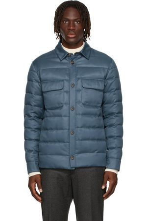 Loro Piana Men Puffer Jackets - Blue Down Overshirt Puffer Jacket
