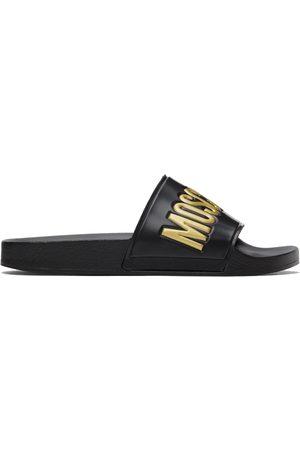 Moschino Women Sandals - Black & Gold Logo Slide Sandals