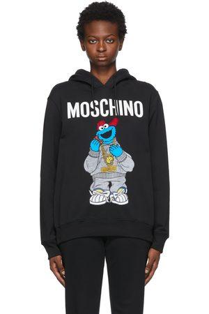 Moschino Women Hoodies - Black Sesame Street Edition Cookie Monster Hoodie