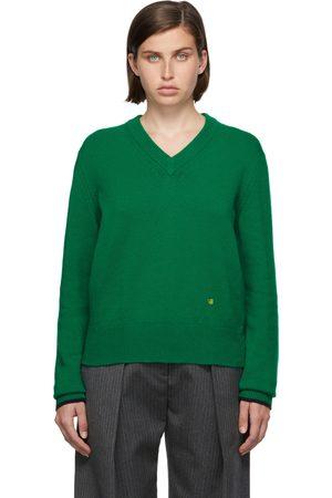 Victoria Beckham Women Sweaters - Green Cashmere V-Neck Sweater