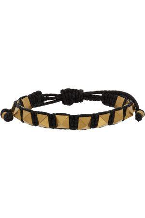 VALENTINO GARAVANI Women Bracelets - Black Waxed Cotton Rockstud Bracelet