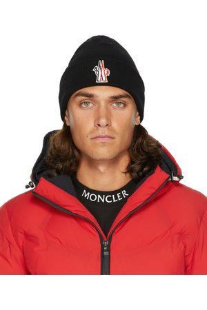 Moncler Men Beanies - Black Wool Logo Beanie