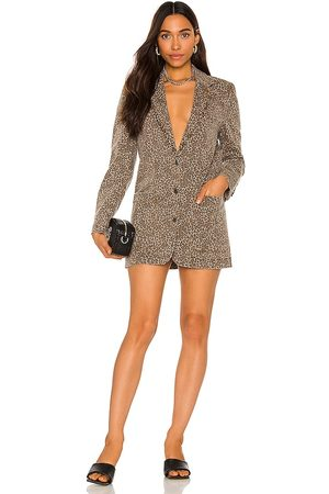 AFRM Royce Blazer Dress in Taupe,Brown.