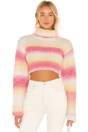 For Love & Lemons Rosa Turtleneck Crop Sweater in Coral.