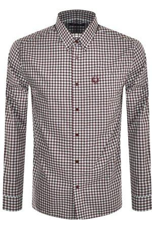 Fred Perry Gingham Long Sleeved Logo Shirt Burgund