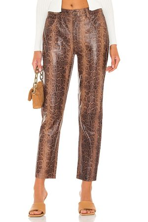 ONE TEASPOON Python Leather Trucker Pants in Brown.
