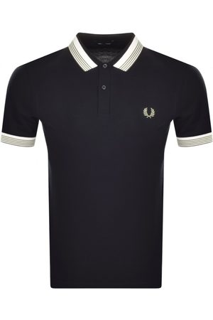 Fred Perry Men Polo Shirts - Striped Collar Polo T Shirt Navy