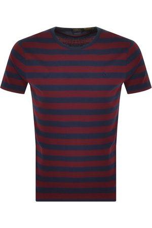 Ralph Lauren Slim Fit Stripe T Shirt Burgundy