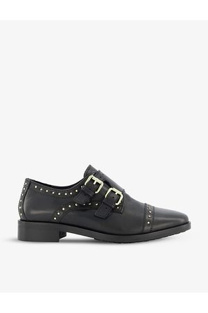 Dune Flickers studded leather double monk strap shoes