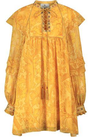 Etro Printed ruffled silk minidress