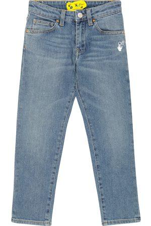 Off-White Kids Diagonal slim-fit jeans