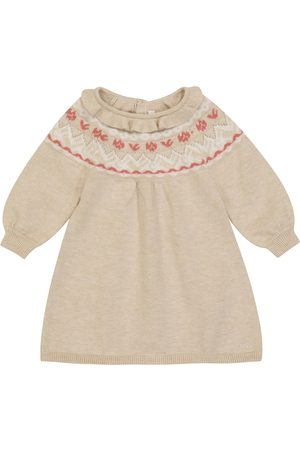 Chloé Baby cotton and wool intarsia dress