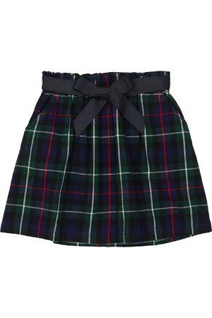 Ralph Lauren Belted checked cotton twill skirt