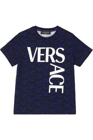 VERSACE Logo-printed stretch-cotton T-shirt
