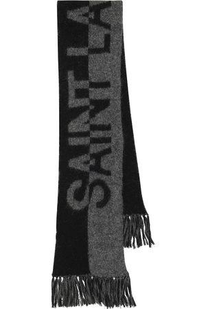Saint Laurent Logo wool, alpaca and mohair-blend scarf