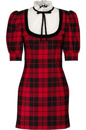 Alessandra Rich Puff-sleeve checked wool minidress
