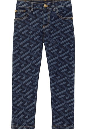 VERSACE Logo-printed high-rise jeans