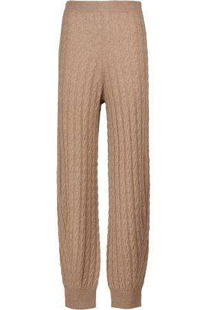 Totême Cable-knit stretch-cashmere pants