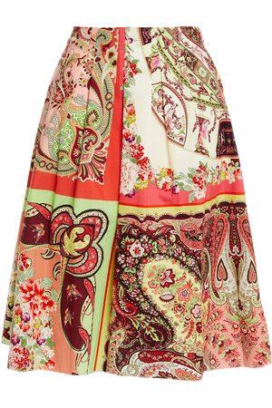 Etro Woman Pleated Printed Cotton-poplin Skirt Ecru Size 42