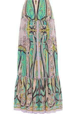 Etro Women Printed Skirts - Woman Tiered Printed Silk-seersucker Maxi Skirt Lilac Size 42