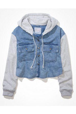 American Eagle Outfitters Cropped Hooded Denim Fleece Shirt Women's XXL