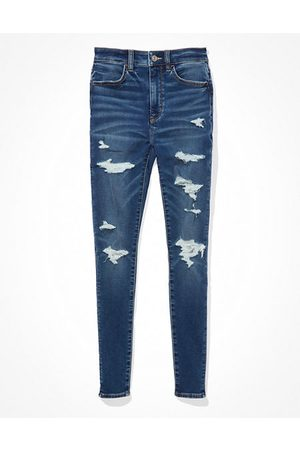 American Eagle Outfitters Next Level Soft Knit Ripped Super High-Waisted Jegging Women's 4 Long
