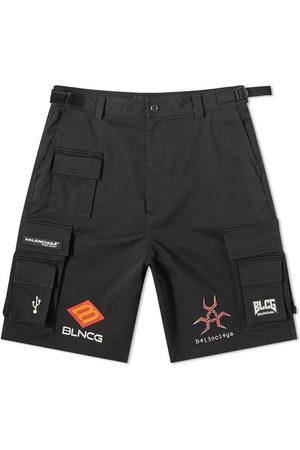 Balenciaga Men Shorts - Gamer Oversized Patched Short