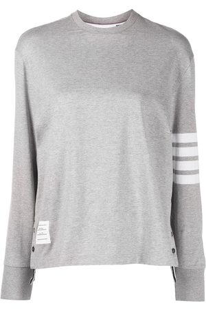 Thom Browne Women Long Sleeve - LONG SLEEVE OVERSIZED TEE IN MED WEIGHT JERSEY W/ ENGINEERED 4 BAR - Grey