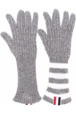 Thom Browne Kids Boys Gloves - RWB stripe-detail ribbed-knit cashmere gloves - Grey