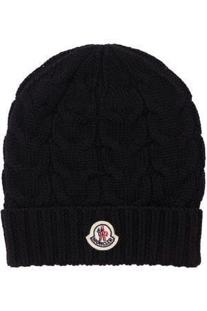 Moncler Boys Beanies - Cable Logo Virgin Wool Knit Beanie Hat
