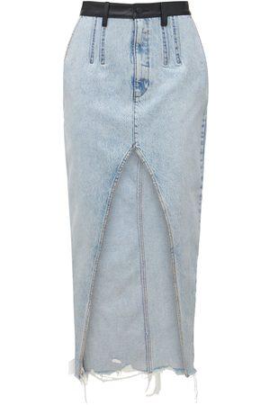 Alexander Wang Women Leather Skirts - Long Denim Skirt W/leather Waistband