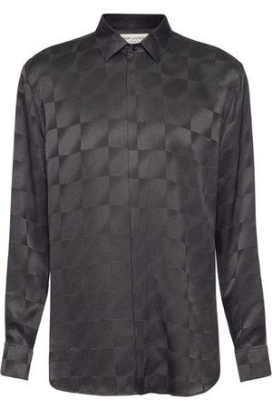 Saint Laurent Men Shirts - Yves Jacquard Silk Shirt