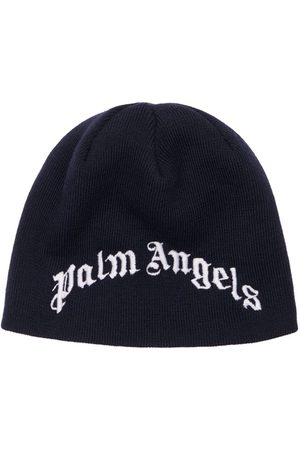 Palm Angels Boys Beanies - Embroidered Logo Wool Beanie Hat