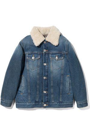 MM6 MAISON MARGIELA KIDS Girls Denim Jackets - Shearling collar denim jacket